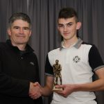 EE 10/10/2016 SPORT - Rian O'Keeffe is presented with the U15 A Player of the Year from Coach Peter McGoldrick at the annual Lakewood AFC Awards Night in the Oriel House Hotel, Ballincollig. Picture: Howard Crowdy