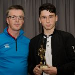 EE 10/10/2016 SPORT - Team coach Mark Kenny presents Evan Carroll with the U16A Player of the Year Award at the recent Lakewood AFC Awards Night in the Oriel House Hotel, Ballincollig. Picture: Howard Crowdy