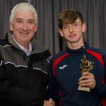 EE 10/10/2016 SPORT - Team coach Noel Foley pictured with U16 Premier Player of the Year Award winner Jack Allen at the recent Lakewood AFC Awards Night in the Oriel House Hotel, Ballincollig. Picture: Howard Crowdy