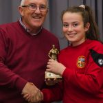 EE 10/10/2016 SPORT - Ger Cahill presents Sadbh McGoldrick with the Girls U12 Player of the Year Award at the recent Lakewood AFC Awards Night in the Oriel House Hotel, Ballincollig. Picture: Howard Crowdy