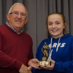 EE 10/10/2016 SPORT - Club Chairman Ger Cahill presents Grace Oldham with the Schoolgirls U14 Player of the Year Award at the recent Lakewood AFC Awards Night in the Oriel House Hotel, Ballincollig. Picture: Howard Crowdy