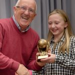 EE 10/10/2016 SPORT - Schoolgirls Club Chairman Ger Cahill shares a light hearted moment with Molly O'Shea as he presents her with the Goalkeepers Clean Sheet Award for 2015/16 at the annual Lakewood AFC Awards Night in the Oriel House Hotel, Ballincollig. Picture: Howard Crowdy