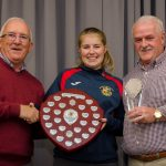EE 10/10/2016 SPORT - Michelle McNally is presented with the Clubperson of the Year Award from Schoolgirls Chairman Ger Cahill and Club Chairman Noel Mullins at the annual Lakewood AFC Awards Night in the Oriel House Hotel, Ballincollig. Picture: Howard Crowdy