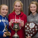 EE 10/10/2016 SPORT - Schoolgirls U14 players Grace Oldham, Zara Foley and Eabha O'Mahony pictured at the recent Lakewood AFC Awards Night in the Oriel House Hotel, Ballincollig. Picture: Howard Crowdy