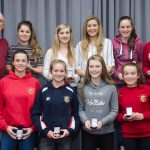 EE 10/10/2016 SPORT - Schoolgirls Club Chairman Ger Cahill pictured with players who played for various Cork Schoolgirls teams last season at the Lakewood AFC Awards Night in the Oriel House Hotel, Ballincollig. Picture: Howard Crowdy
