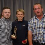 EE 10/10/2016 SPORT - Coaches Matt O'Driscoll and Jack O'Driscoll pictured with U13 premier Player of the Year Liam O'Connell at the annual  Lakewood AFC Awards Night in the Oriel House Hotel, Ballincollig. Picture: Howard Crowdy